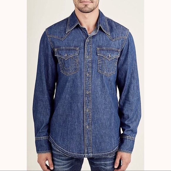 7bf217fa86 TRUE RELIGION Mens Long-Sleeve Denim Western Shirt